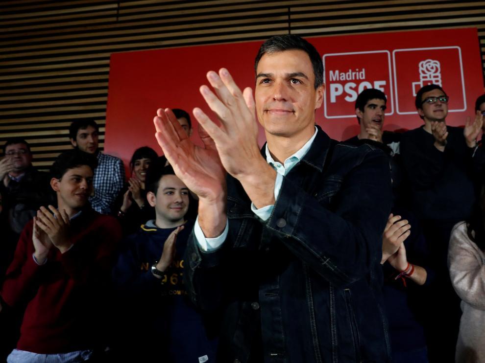 Pedro Sánchez durante un acto este sábado.