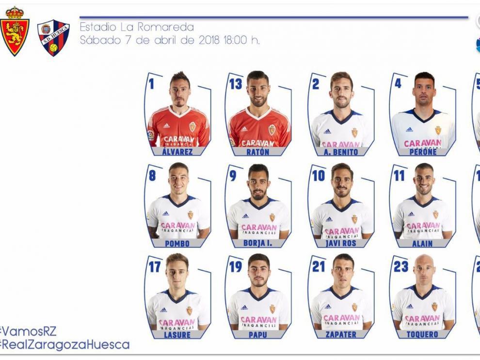 Lista de 18 convocados del Real Zaragoza para el partido de este sábado ante el Huesca en La Romareda (18.00)