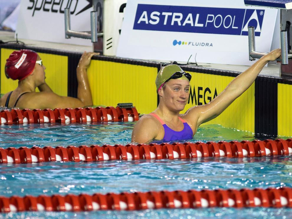 La nadadora Mireia Belmonte tras participar en la prueba de 200 metros mariposa.