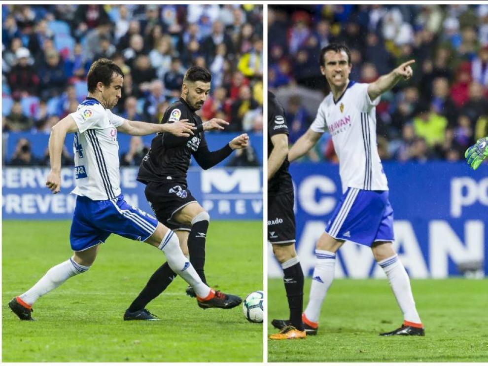 Dos momentos de Mikel González ante el Huesca. Al corte ante Vadillo y ordenando la defensa tras una parada de Cristian Álvarez.