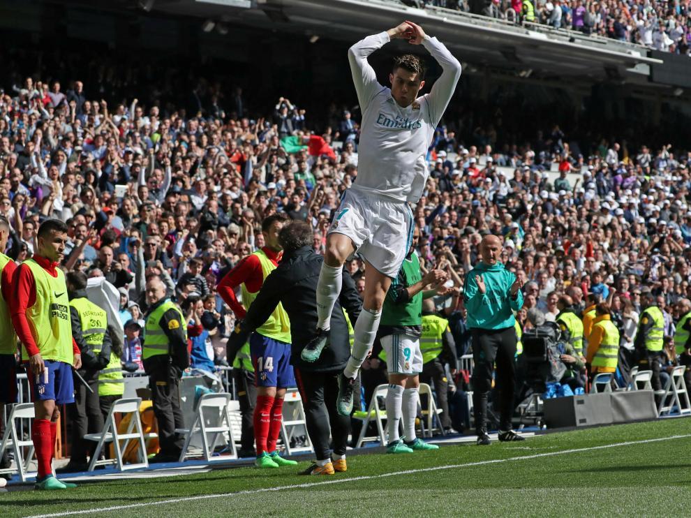 Cristiano Ronaldo celebra su gol al Atlético de Madrid.