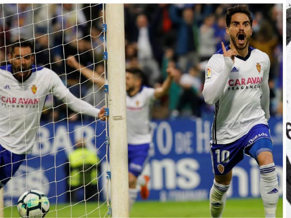 Javi Ros acaba de marcar el gol ganador del Real Zaragoza ante el Huesca... primera diana perfecta ante uno de los primeros clasificados.