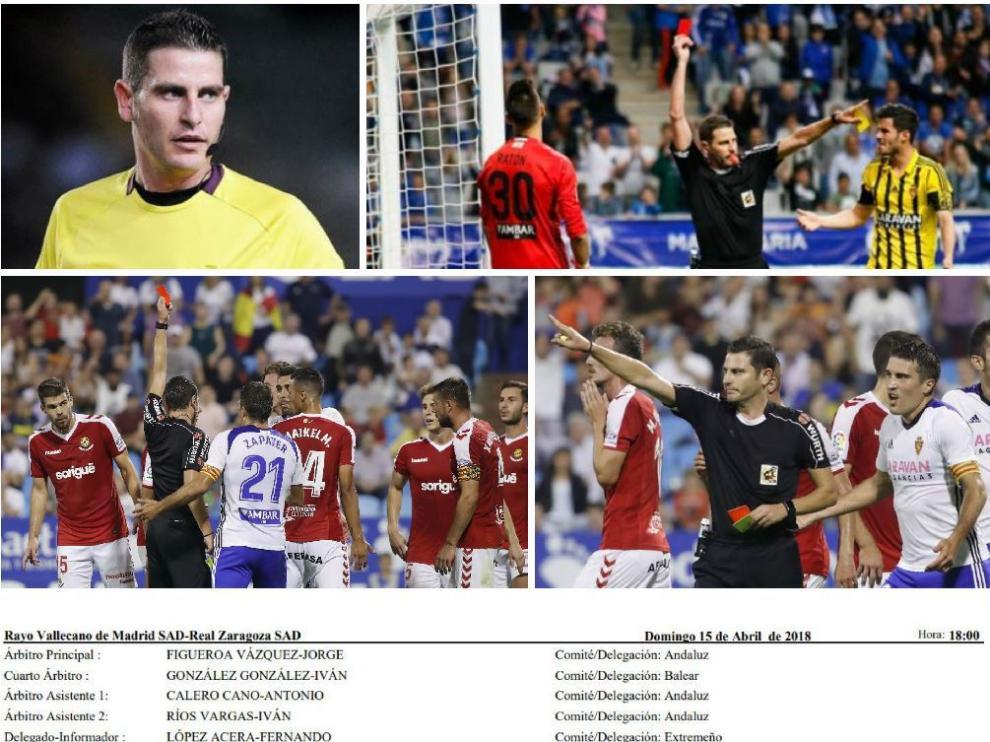 Figueroa Vázquez, su designación para el partido de Vallecas y varias imágenes de sus graves polémicas con el Real Zaragoza en los últimos partidos dirigidos al club aragonés.