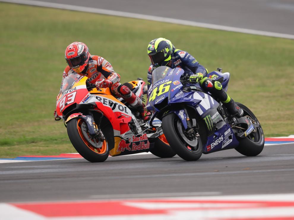 Márquez y Rossi durante la carrera de este fin de semana en Argentina.