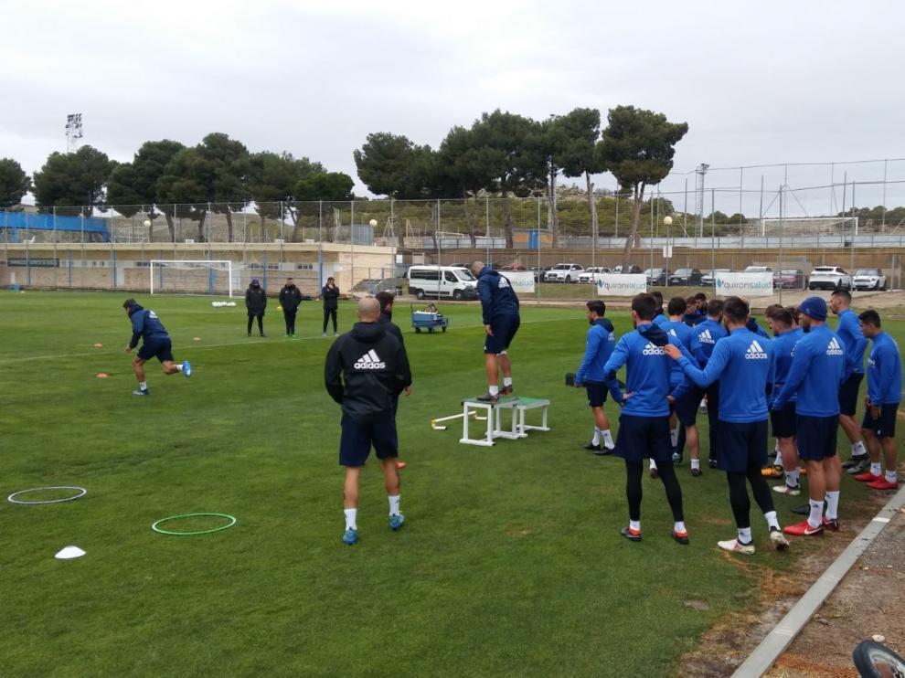 Entrenamiento del Real Zaragoza este jueves en la Ciudad Deportiva.