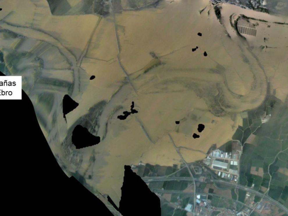 Imagen aérea del Ebro por Alagón, este sábado.
