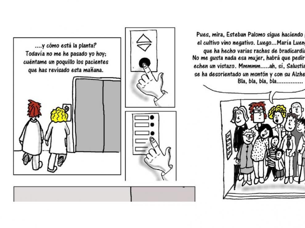 Los médicos meten la pata en el cómic creado para el tema de Confidencialidad médica