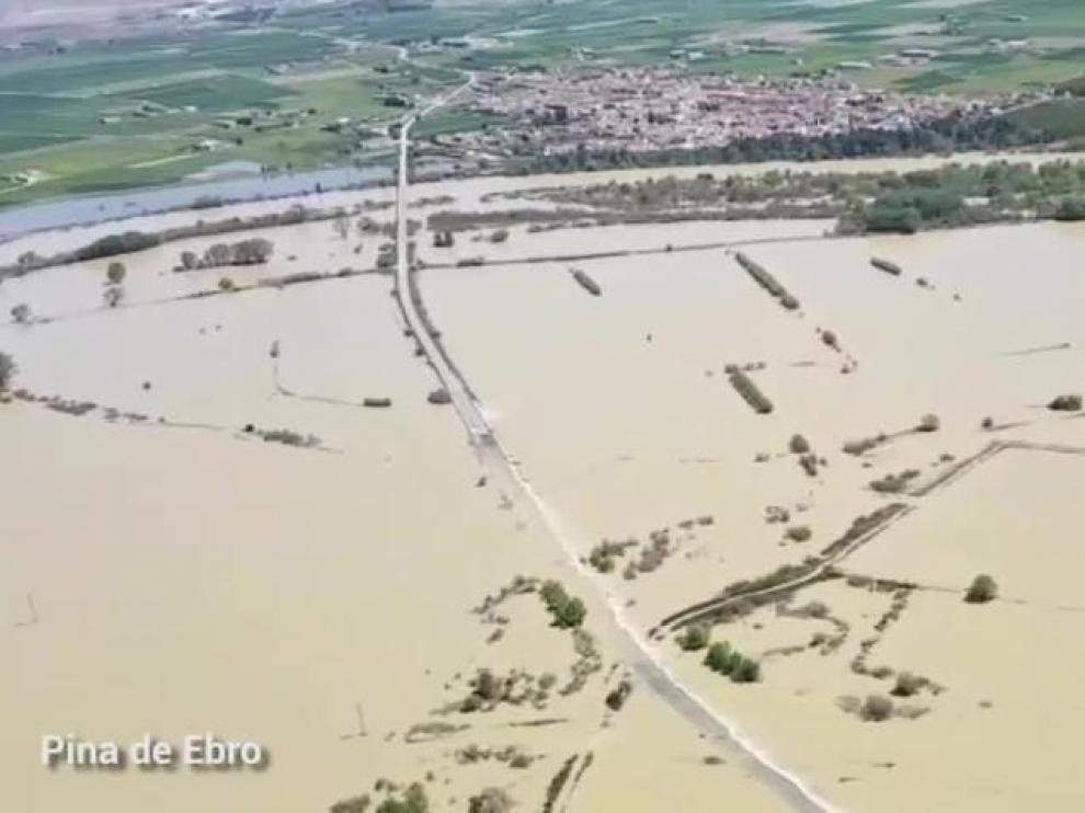 Crecida del Ebro en Pina en una imagen de archivo.