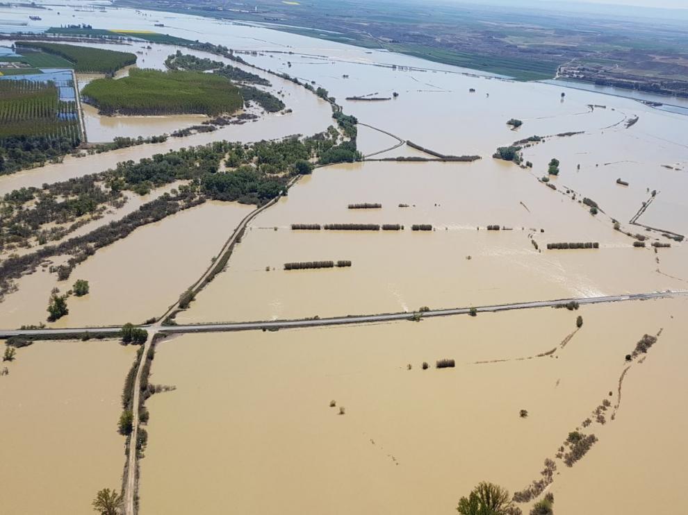 La crecida ha anegado miles de hectáreas en el entorno de Pina de Ebro