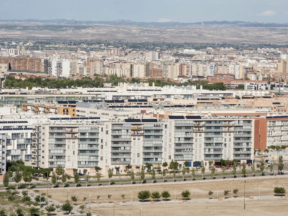 Vista de Valdespartera, el barrio más poblado del nuevo Distrito Sur.