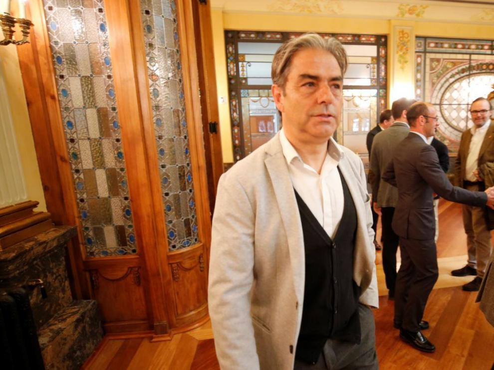 Natxo González, este martes en la sede zaragozana de Bantierra, donde participó en una charla-coloquio.
