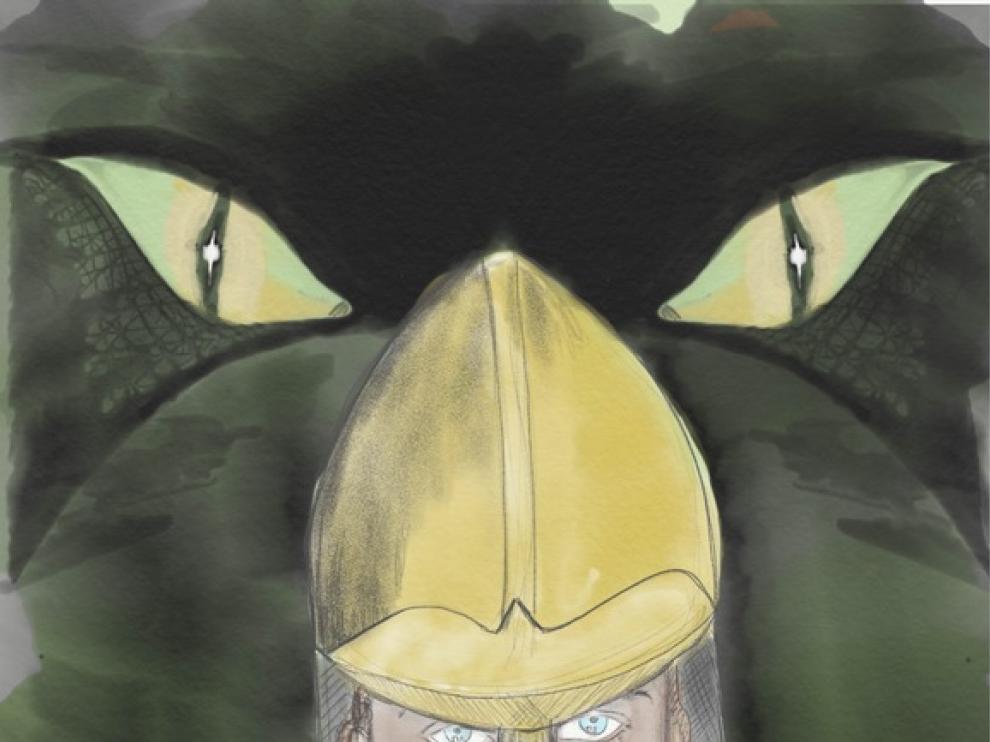 San Jorge vigilado por el dragón. Dibujo de Pilar Ostalé