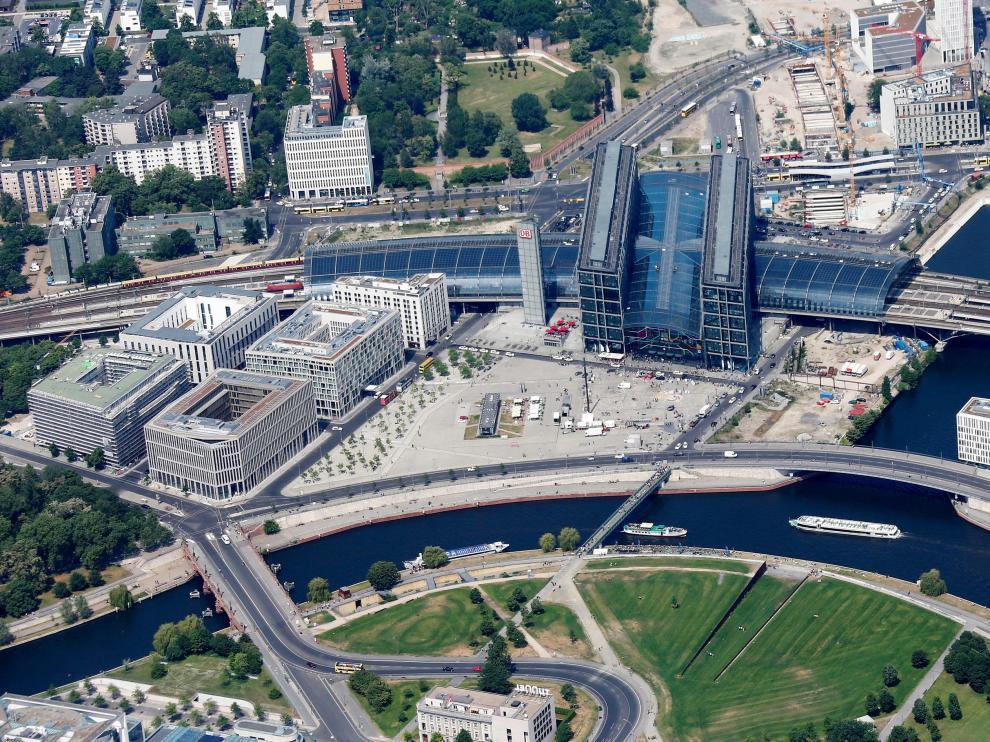 Vista aérea de la estación central de Berlín.