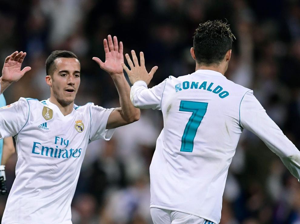 Cristiano y Lucas celebran el gol del empate.