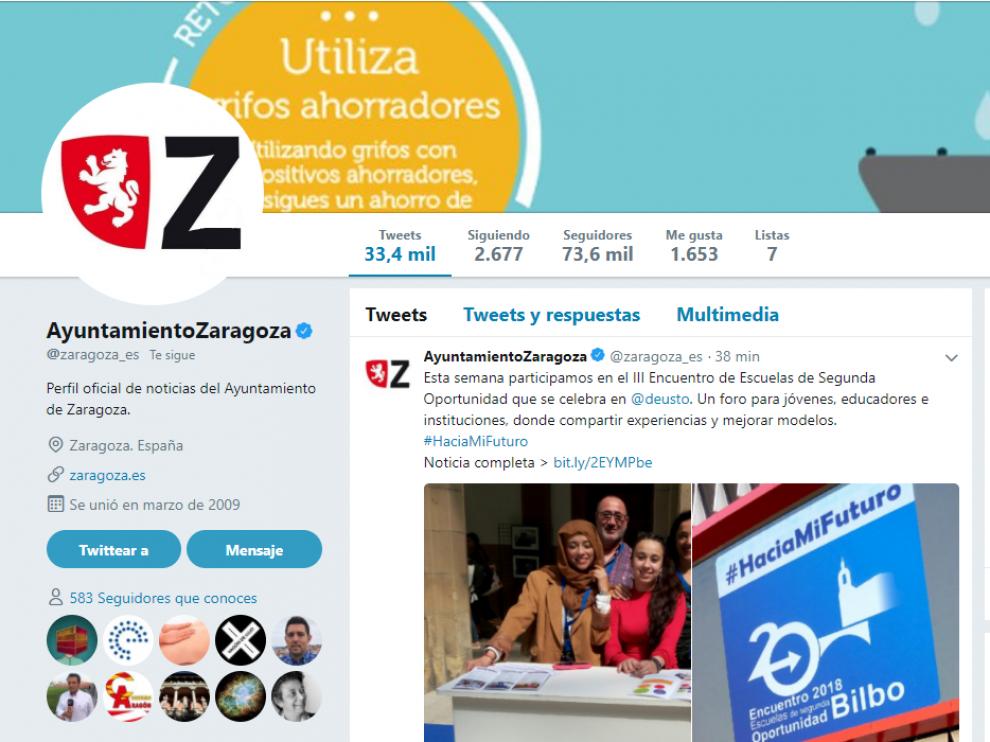 Perfil del Ayuntamiento en Twitter