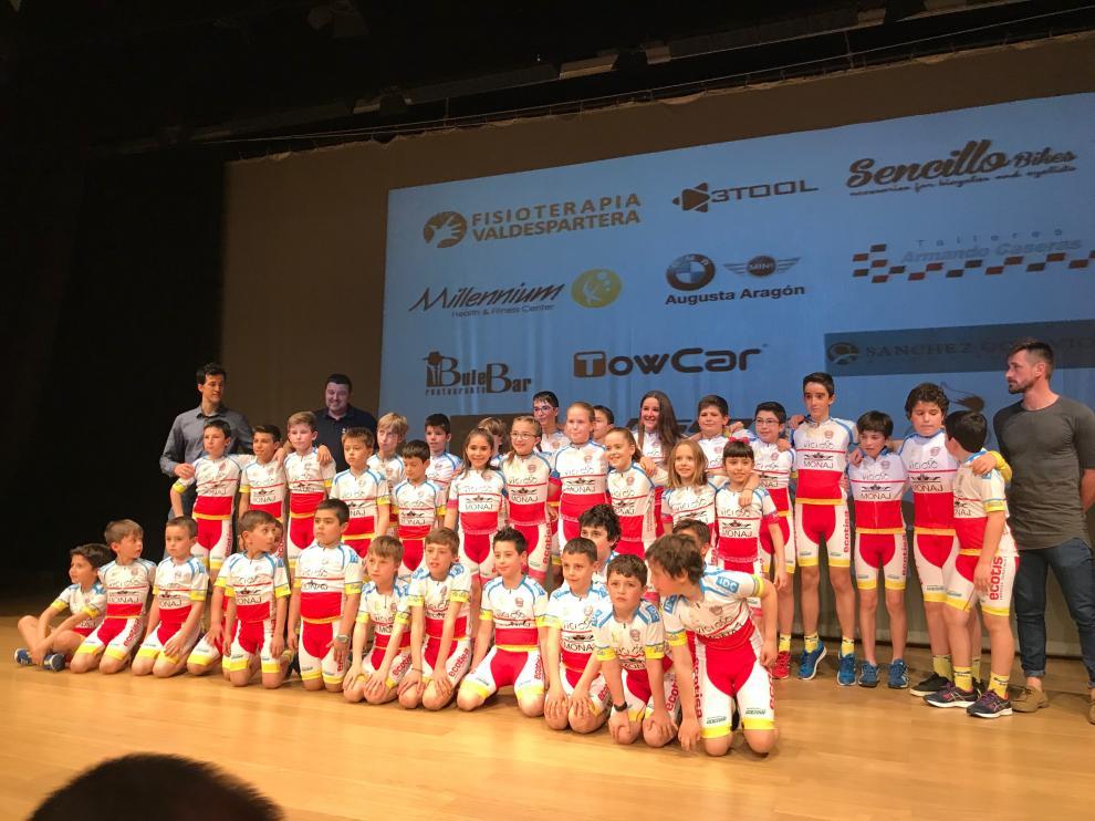 Componentes de la categoría base de la Escuela Ciclista Zaragoza