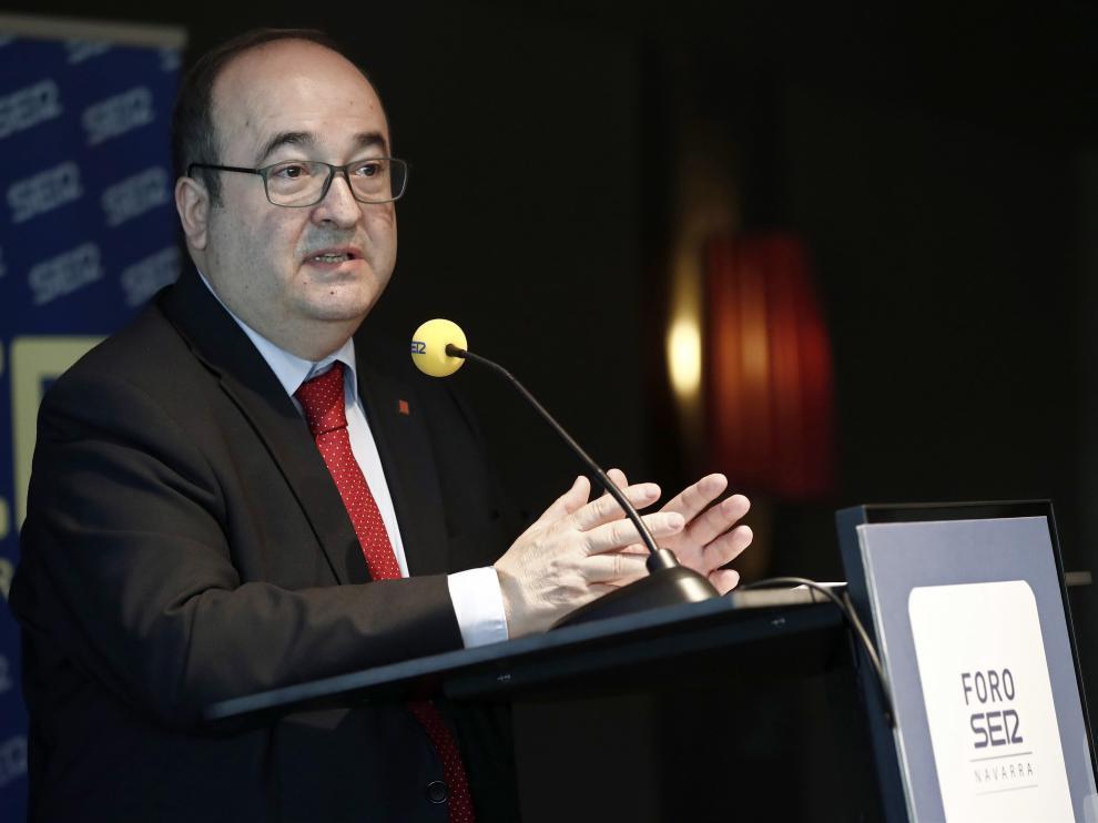Miquel Iceta durante un acto celebrado este viernes en Navarra.