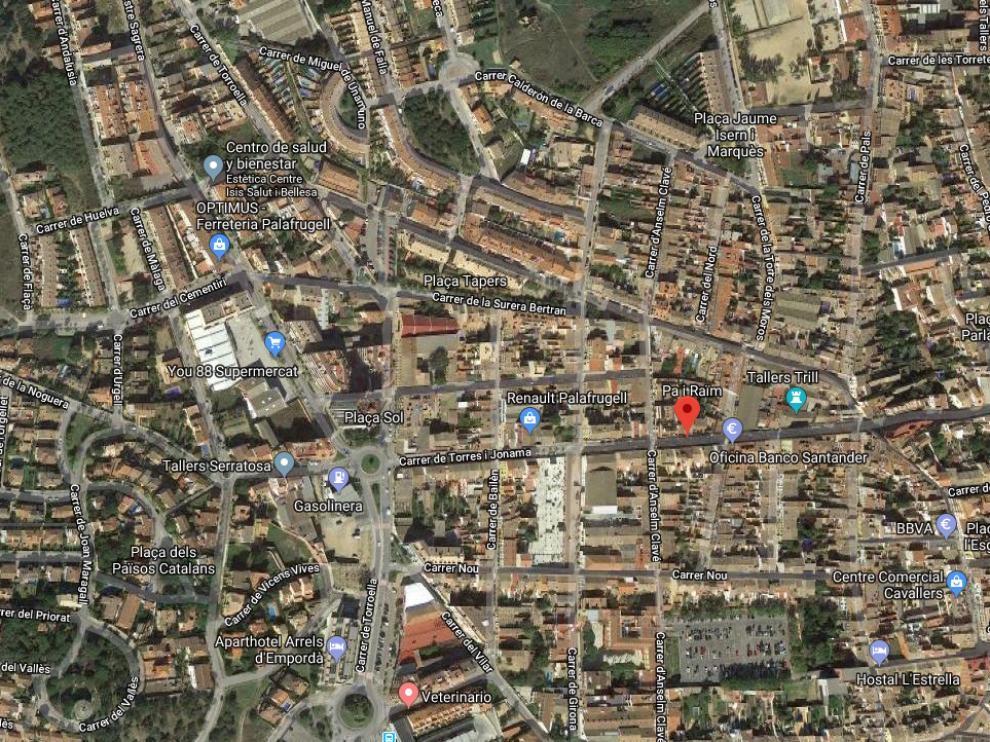Calle, en Palafrugell, en la que tuvo lugar el incidente con la motosierra