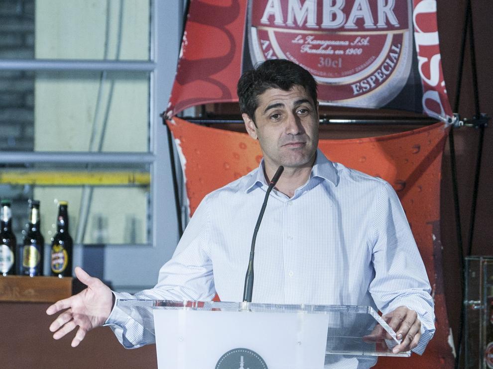 Óscar Mainer, en un acto como responsable del Balonmano Aragón