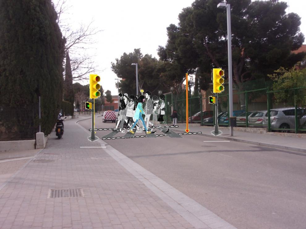 Recreación del paso de peatones que se solicita entre el IES Pignatelli y Los Enlaces