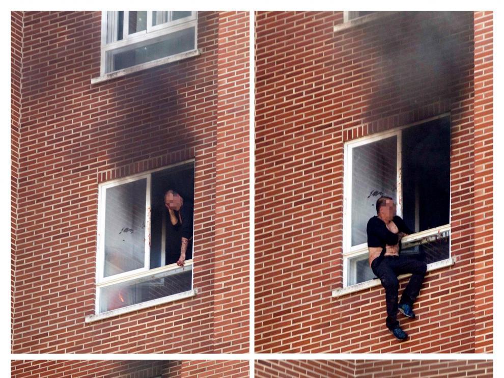El presunto agresor ha sido detenido tras prender fuego a la vivienda y saltar desde un octavo piso a una lona colocada por los bomberos.