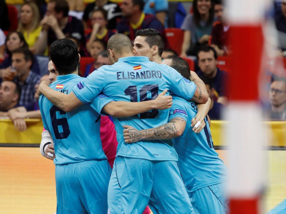 Los jugadores del Inter Movistar, en plena celebración.