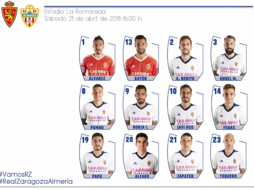 Lista de convocados del Real Zaragoza para el partido frente al Almería.