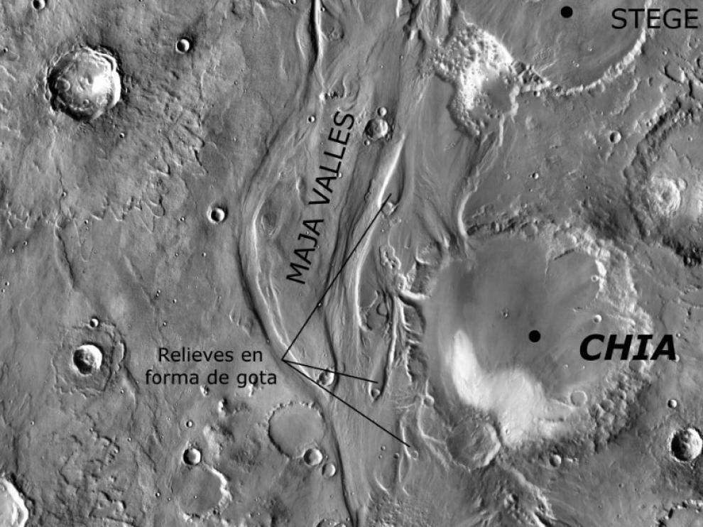 Chia, un cráter en la superficie de Marte
