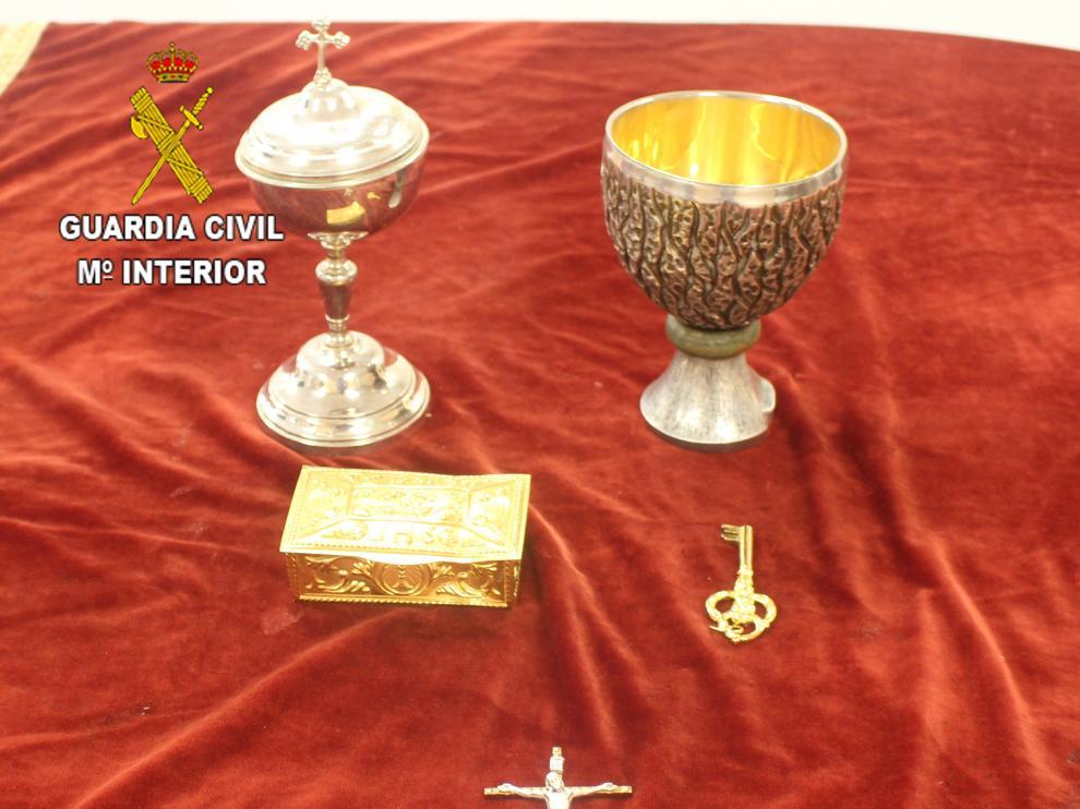 Imagen del material sustraido por los ladrones que ha sido recuperado por la Guardia Civil.