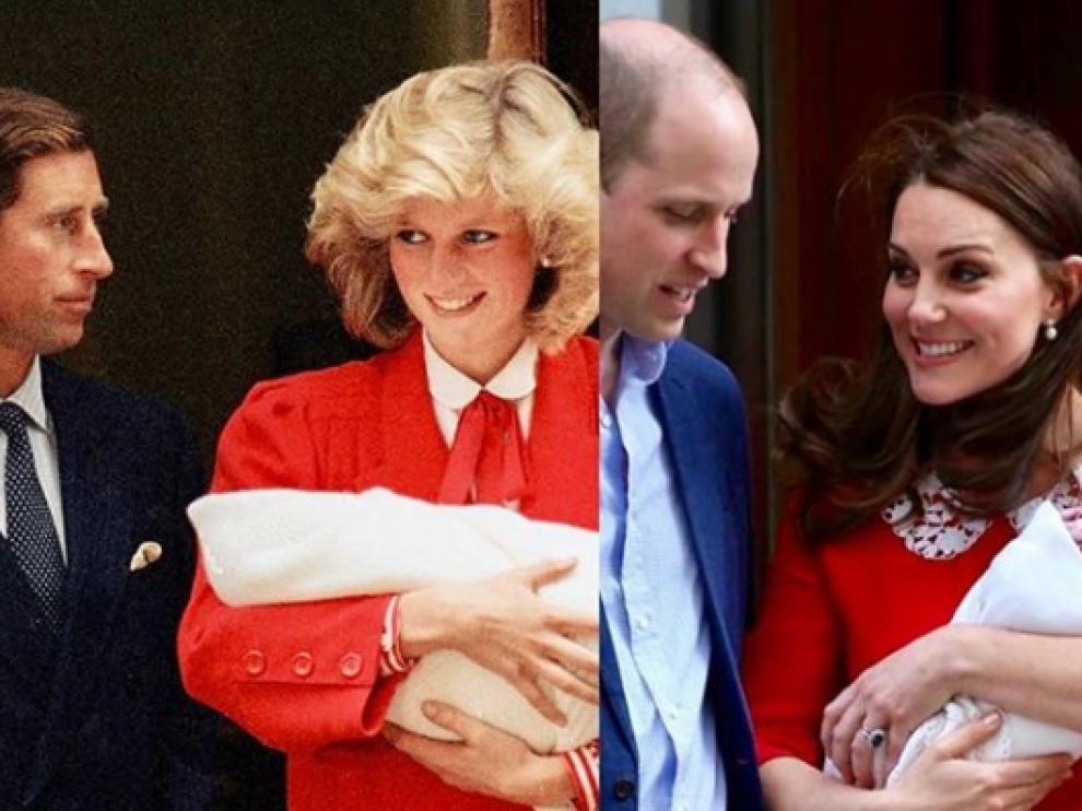 A la izquierda, Lady Di con su hijo Harry en brazos y a la derecha, Catalina de Cambridge con su tercer hijo.