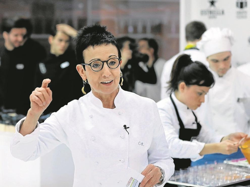 La chef Carme Ruscalleda, durante el taller que ofreció en Alimentaria.