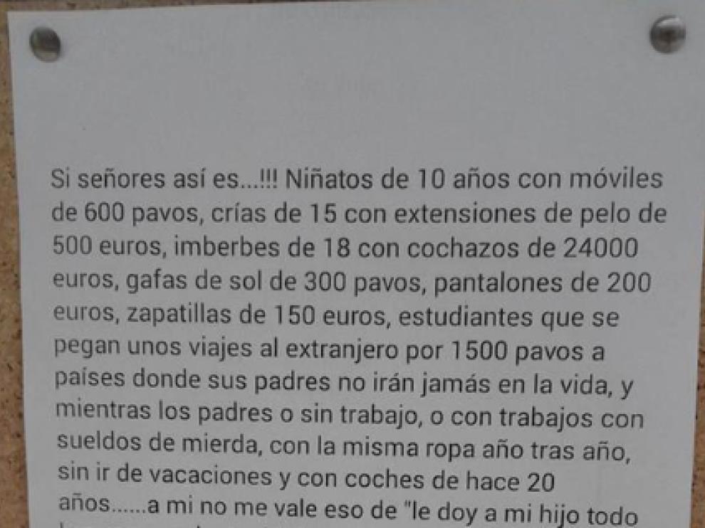 Mensaje colgado en el corcho de un ambulatorio de Seixo (Pontevedra) que se ha hecho viral.