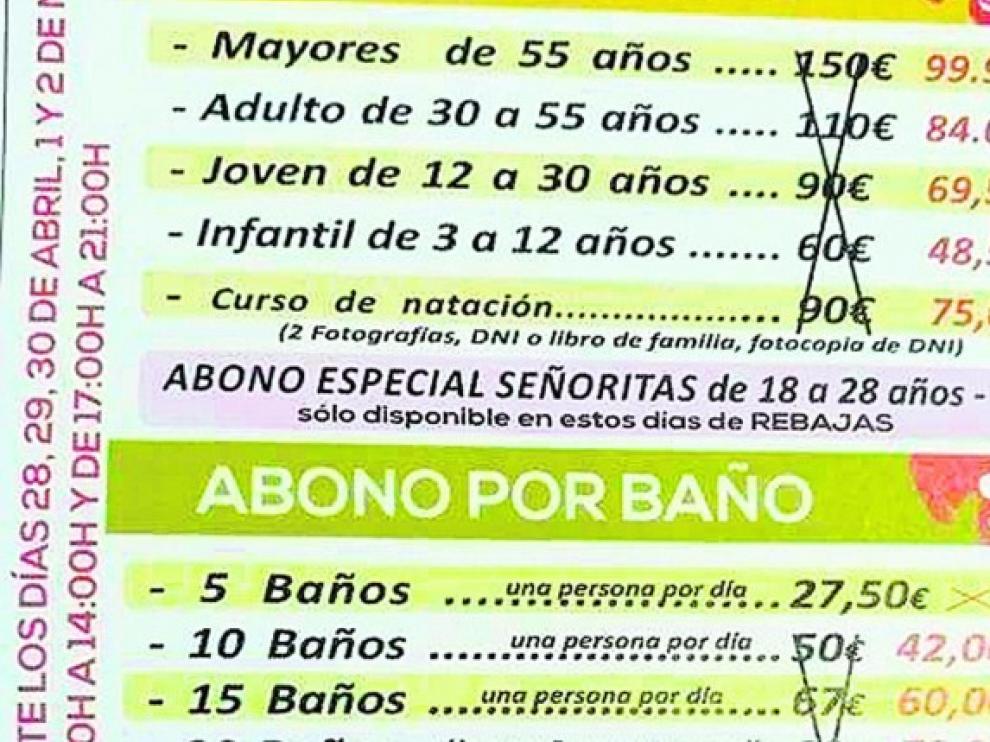 """Anuncio que recoge el abono especial """"sexista"""" de una piscina de la ciudad de Jaén."""