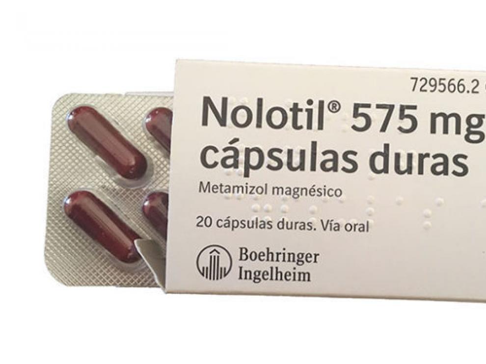 Envase de 20 cápsulas de Nolotil en su presentación de 575 mg
