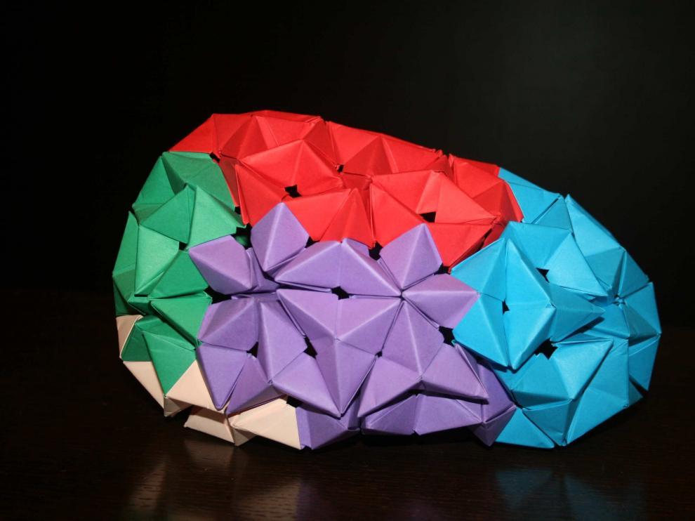 Cerebro de origami plegado colectivamente con el Grupo Zaragozano de Papiroflexia durante las jornadas 'Comunicar la neurociencia'
