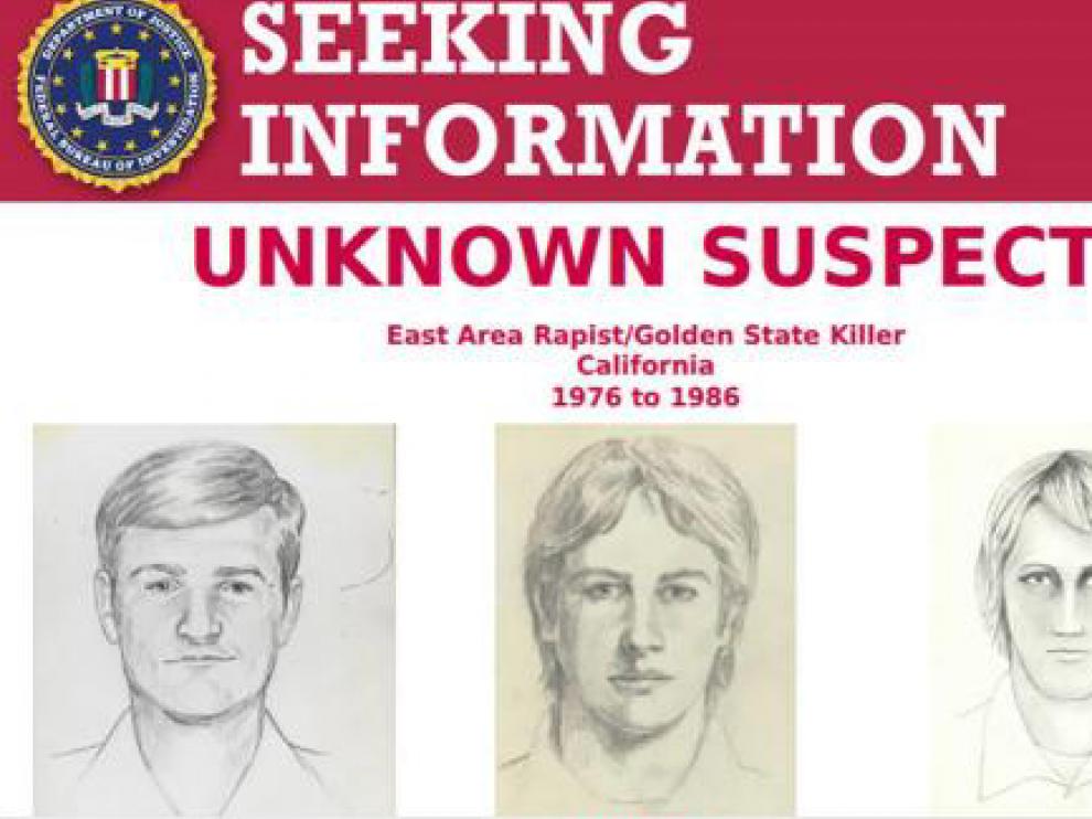 Retratos robot del presunto asesino difundidos por el FBI.