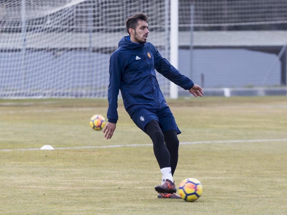 Borja, en un entrenamiento del Real Zaragoza.