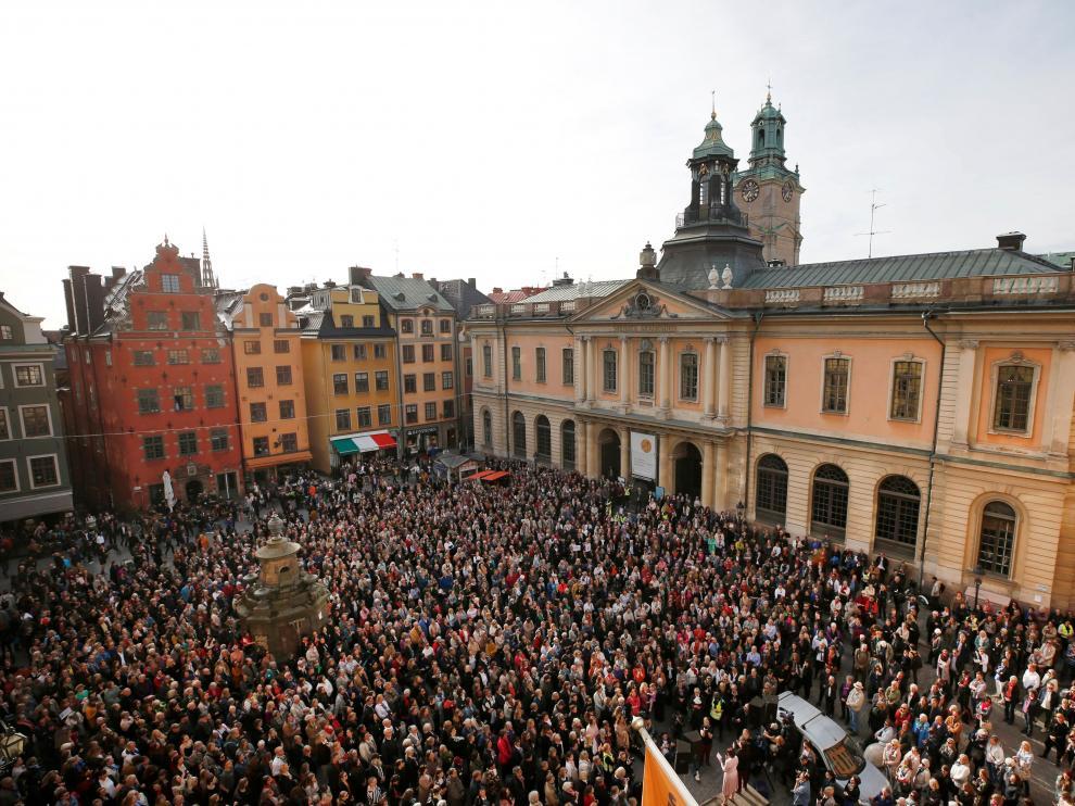 Manifestación a las puertas de la Academia Sueca el pasado 19 de abril.
