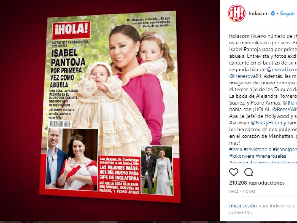 Portada de la revista 'Hola' donde la cantante posa en exclusiva con sus nietas.