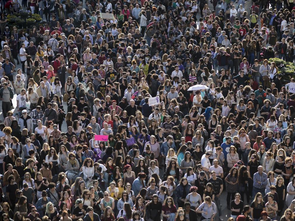 Concentración convocada el jueves en Zaragoza.