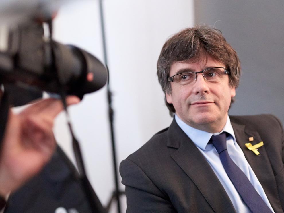 Carles Puigdemont, en un encuentro con periodistas en Alemania.