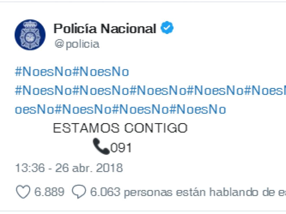 El tuit de la cuenta de la Policía Nacional