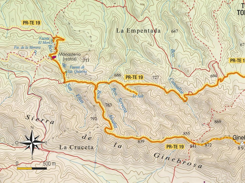 Mapa de la ruta al Ginebrosa.