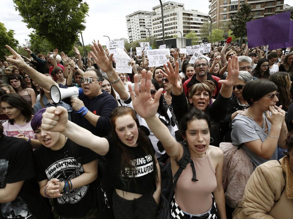 Manifestación en Pamplona tras el juicio de la Manada.