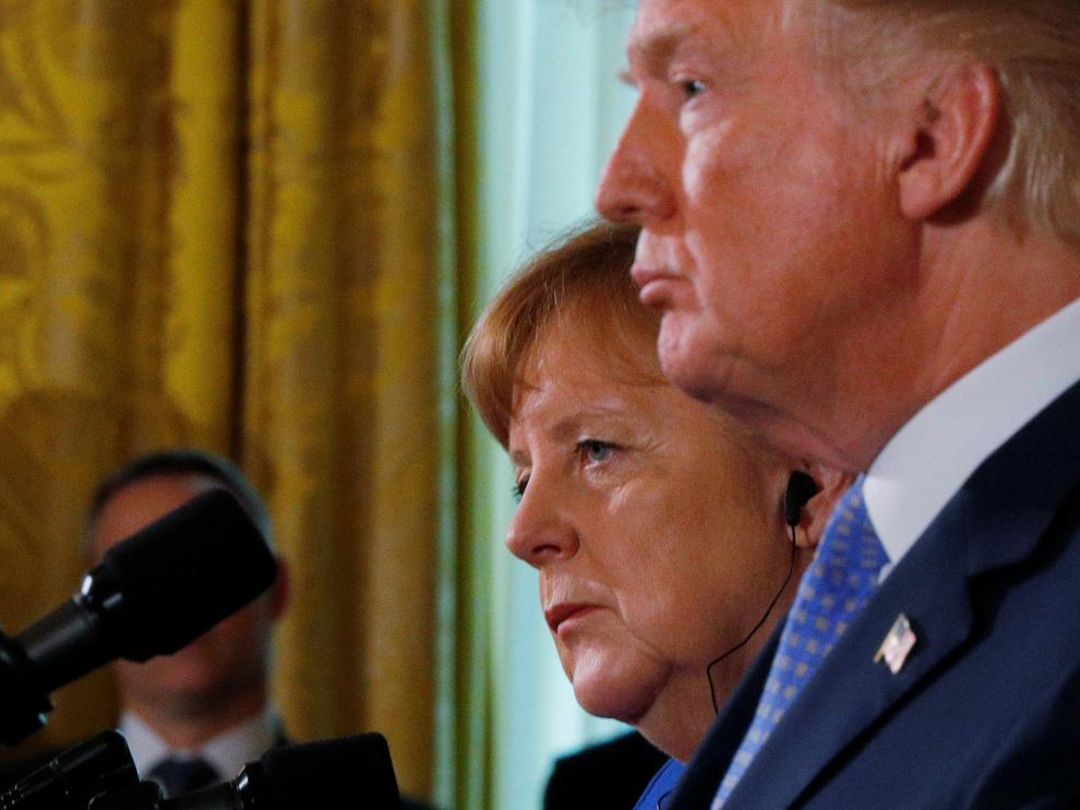 El presidente estadounidense y Angela Merkel.