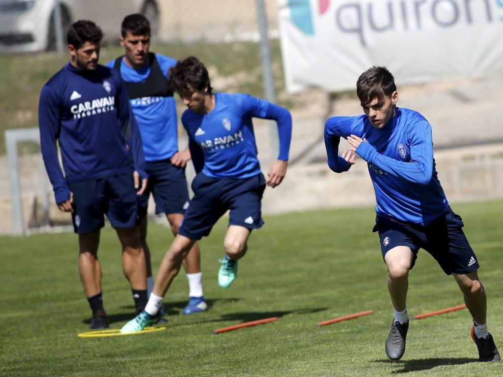Aleix Febas, en un entrenamiento del Real Zaragoza.