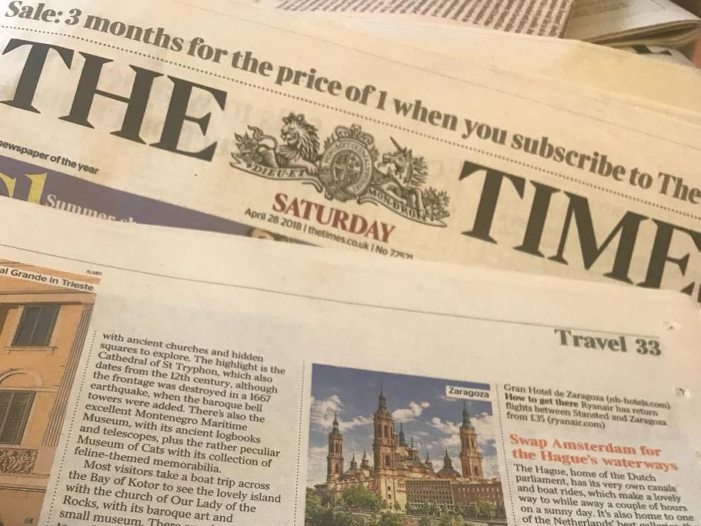 Imagen de la reseña sobre Zaragoza en la edición de 'The Times' del sábado.