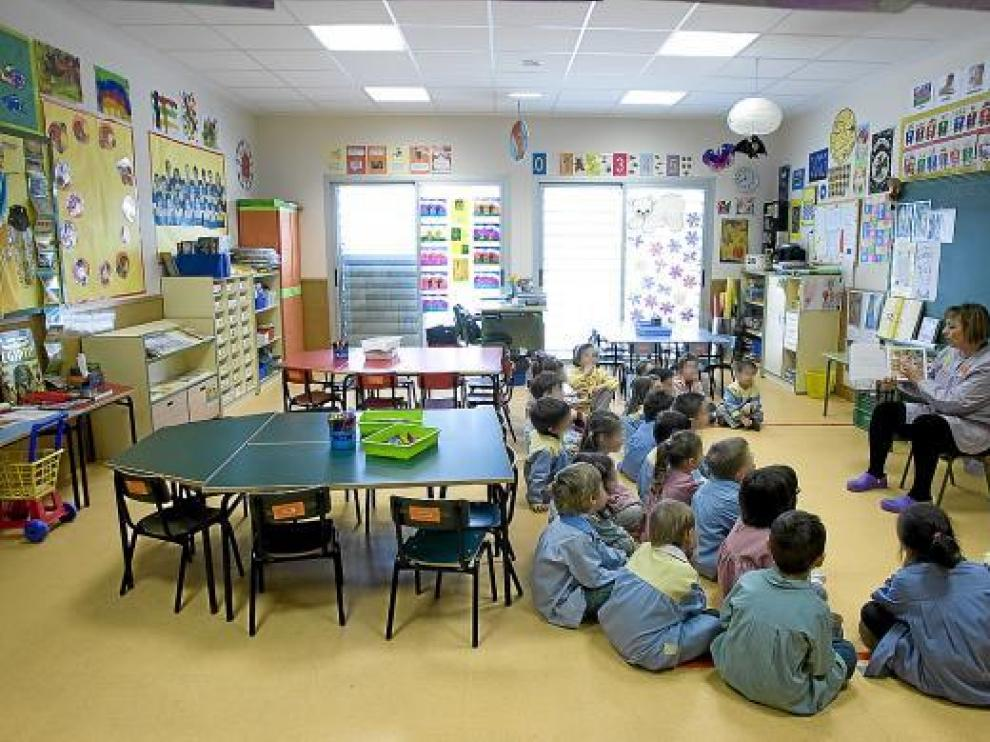 Un aula de infantil de un colegio zaragozano.