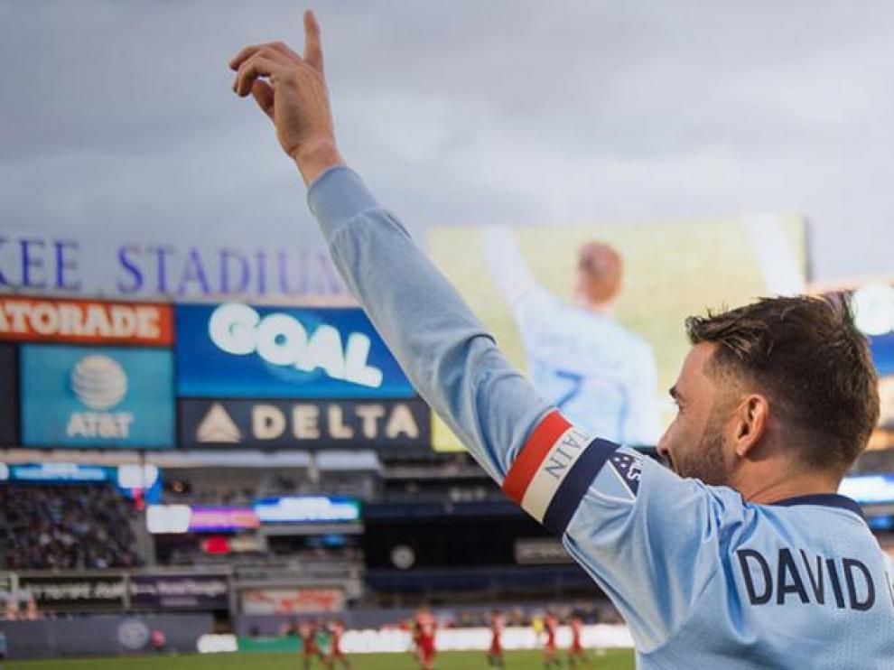 David Villa celebra el gol 400 con el New York City
