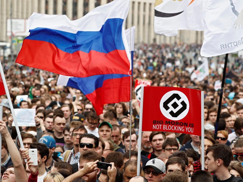 Manifestación en Moscú para reclamar la libertad en internet.